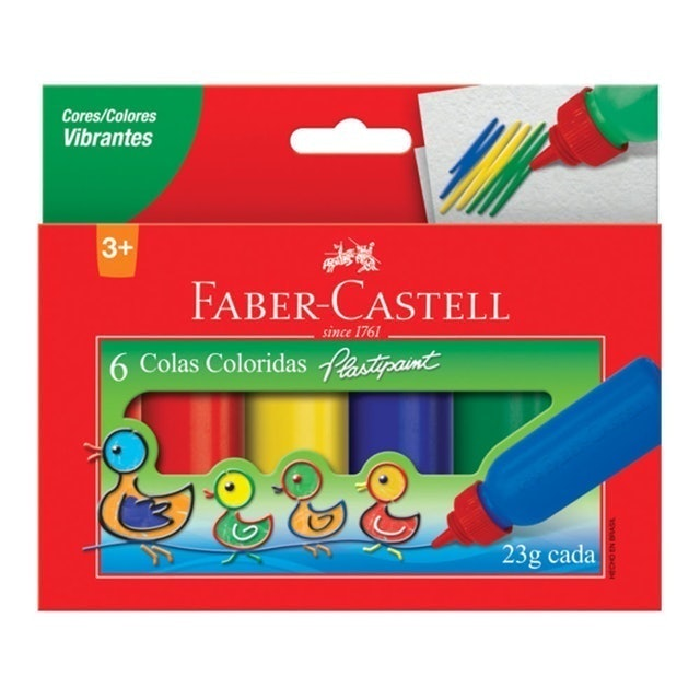 FABER CASTELL Cola Colorida 6 Cores 1