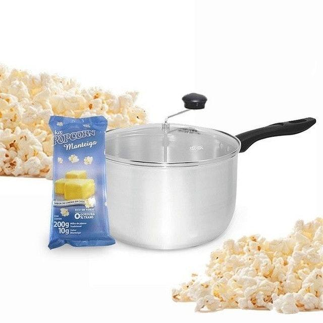 Pipoqueira Tampa de Vidro + Kit Popcorn Sabor Manteiga 1