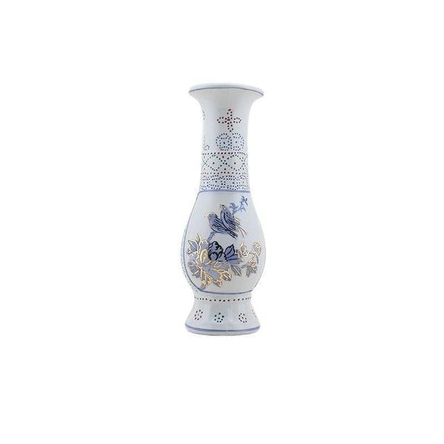 DECOR SPACE Vaso de Porcelana Longo Branco Flores 1