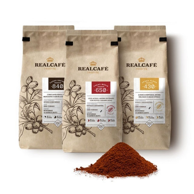 REALCAFÉ Kit 3 Cafés Torrado e Moído Reserva 1