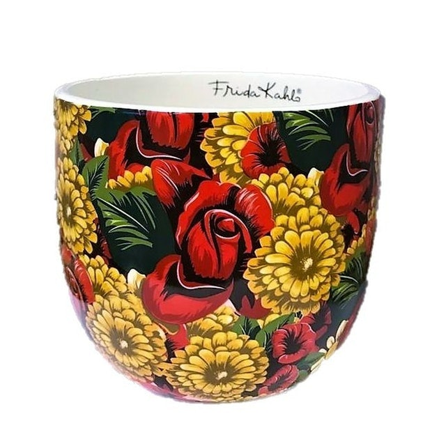 Cachepô  de Cerâmica Frida Kahlo Red Flowers 1