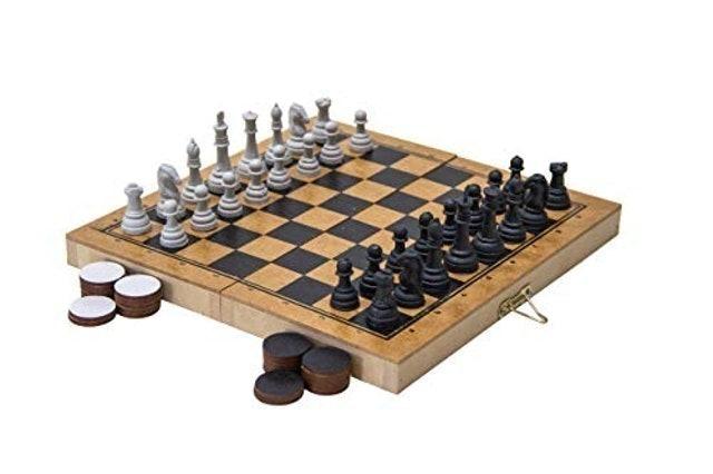 CARLU BRINQUEDOS Jogo de Xadrez e Damas Carlu Colegial 1